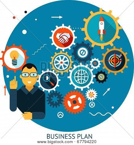 Businessman Describes Successful Strategy Plan Infographic Symbol Gears icons on Stylish Background
