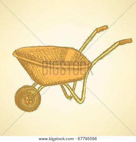 Sketch Barrow, Vector Vintage Background