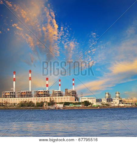 Thermal Power Plant Beside River Side Location Use For Industry And Power Energy Producing And Multi