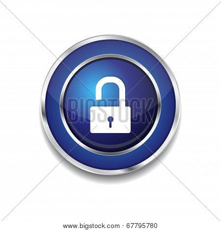 Unlock Circular Blue Vector Web Button Icon