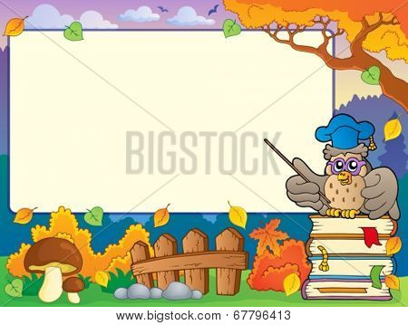 Autumn frame with owl teacher 1 - eps10 vector illustration.