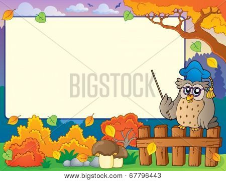 Autumn frame with owl teacher 3 - eps10 vector illustration.