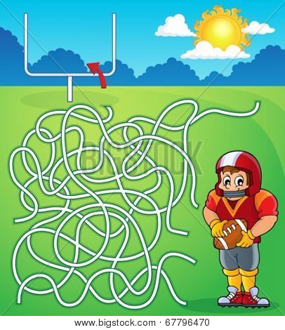 Maze 5 with American football theme - eps10 vector illustration.