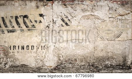 Hundred Years Old Advertising On A Grungy Wall, For Backgrounds