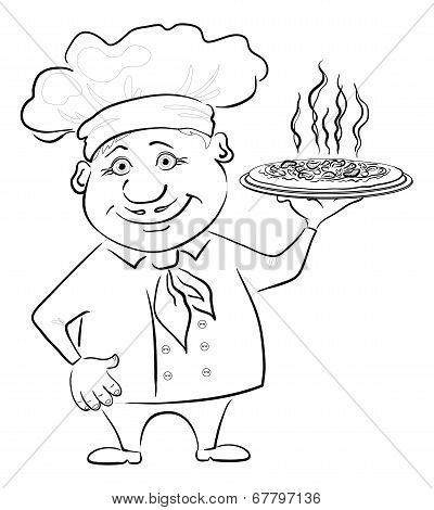 Cook holds a hot pizza, contour