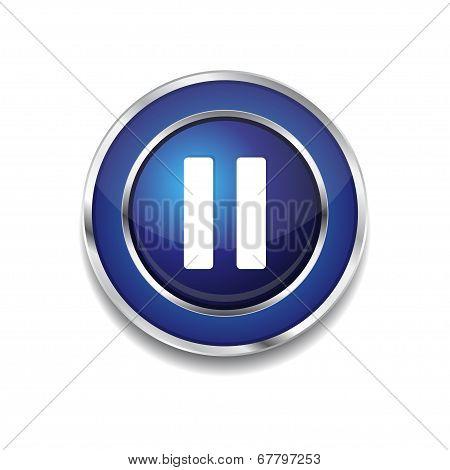 Pause Circular Vector Blue Web Icon Button