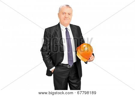 Mature businessman holding a protective helmet isolated on white background
