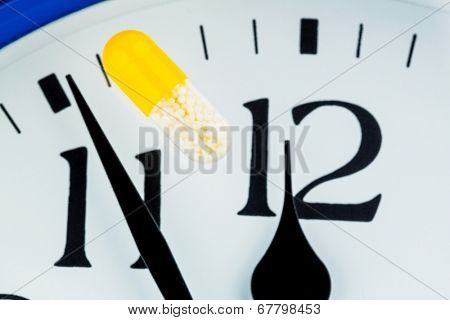 capsule on a clock, symbol photo for healthcare, healthcare reform, reform backlog