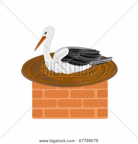 Stork And Nest On A Chimney Vector