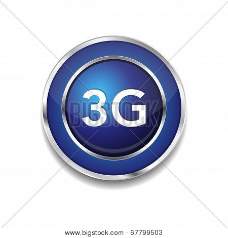 3g Sign Circular Blue Vector Button Icon