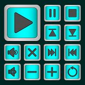 stock photo of neon green  - Set of neon buttons turquoise for player  - JPG