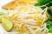 stock photo of soybean sprouts  - Mung beans or bean sprouts on white plate with lemon or Lime