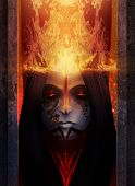 stock photo of morbid  - Fire goddess illustration portait with fire effects - JPG