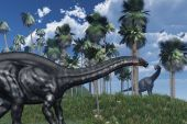 stock photo of apatosaurus  - 3D rendered prehistoric landscape featuring an apatosaurus dinosaur in the foreground and a brachiosaurus at a distance - JPG