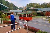 stock photo of gatlinburg  - Trolly Depot in Gatlinburg - JPG