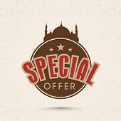 foto of eid mubarak  - Offer and discount sale tag in brown color for the festival of Eid Mubarak - JPG
