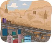picture of sandstorms  - Illustration Featuring a Sandstorm Sweeping Through a City - JPG