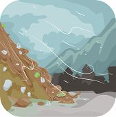 picture of landslide  - Illustration Featuring a Combination of Mud and Rocks Sliding Down the Ground Below - JPG