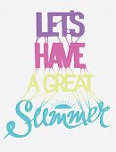 stock photo of silkscreening  - Hand drawn summer poster with gradient - JPG