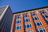 stock photo of knoxville tennessee  - Looking up at office buildings in downtown Knoxville Tennessee - JPG