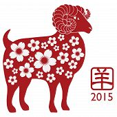 stock photo of ram  - 2015 Chinese New Year of the Ram Red Silhouette Isolated on White Background with Chinese Text Symbol of Goat and Floral Pattern Illustration - JPG
