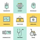 stock photo of psychological  - Flat line icons set of healthcare technology diagnostic equipment surgery tools psychology and pharmacology ambulance emergency medicine treatment - JPG