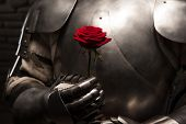 foto of romance  - Closeup portrait of medieval knight in armor holding red rose on dark background - JPG