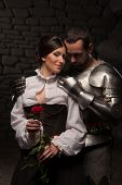stock photo of knights  - Full length portrait of a couple in historical costumes - JPG