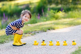 image of yellow  - Adorable little girl of 2 playing with yellow rubber ducks in summer park - JPG