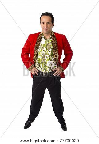 Funny Rake Playboy And Bon Vivant Mature Man Wearing Red Casino Jacket And Hawaiian Shirt Standing H