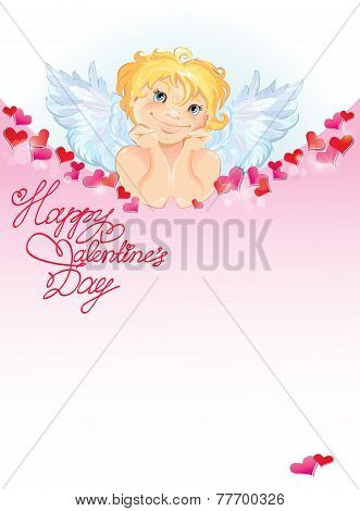 Cute Angel With Red Paper Hearts Confetti And Lights. Valentines Day Card Design.