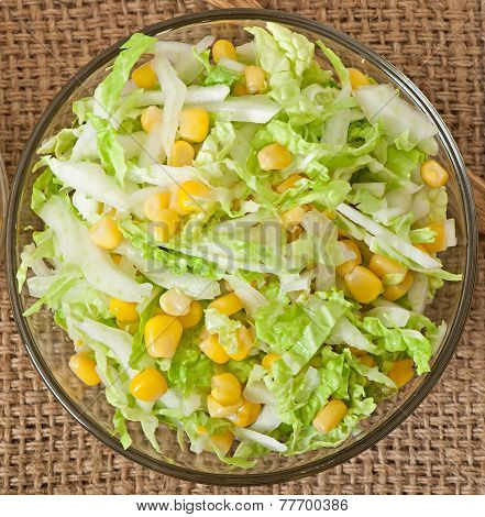 Chinese cabbage salad with sweet corn in a  bowl