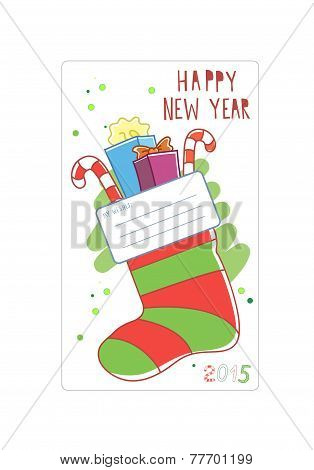 Cards for wishes. Christmas sock. Vector illustration.