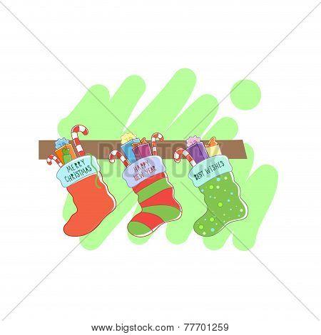 Three Christmas socks.Vector illustration