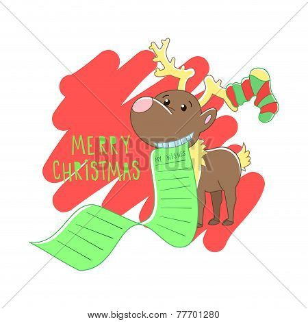 Christmas reindeer illustration. Vector background.