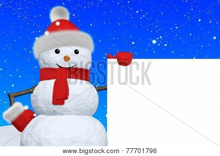 Snowman With Blank White Board Under Snowfall