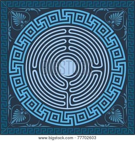 Vector Traditional Vintage Blue Greek Ornament (meander)