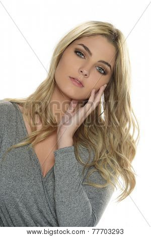 Portrait of gorgeous blond woman isolated on a white background