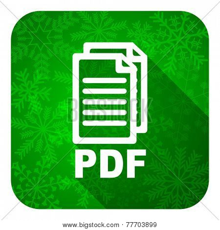 pdf flat icon, christmas button, pdf file sign