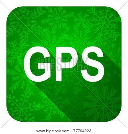 gps flat icon, christmas button