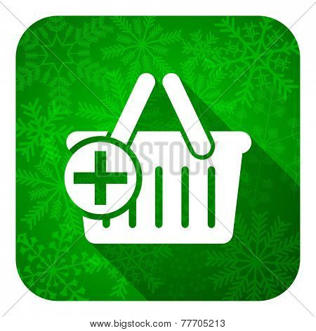 cart flat icon, christmas button, shopping cart symbol