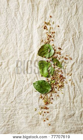 Kaffir lime leaves, coriander seeds and cumin seeds on a natural cotton fabric