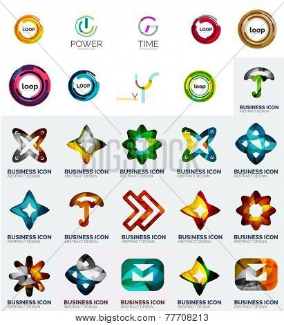 Set of branding company logo elements, abstract business icons