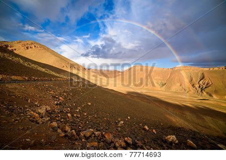 Rainbow On A Mountain Road In High Atlas In Morocco