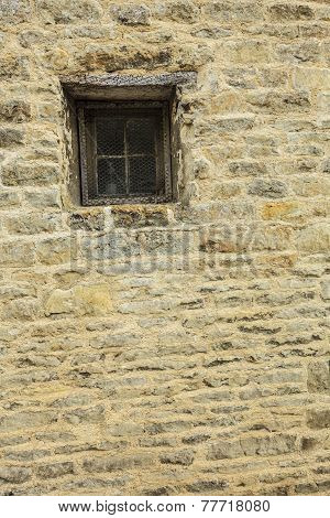 Old Window On Stone Wall Background