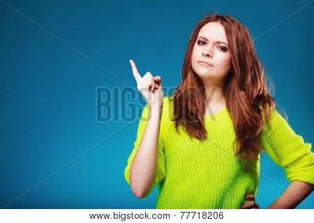 Woman Shaking Wagging Her Finger Girl Scolding