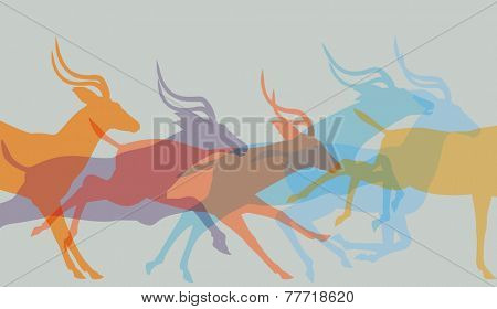 Editable vector illustration of a herd of running antelope