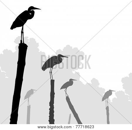 Editable vector illustration of egret silhouettes perched on poles with birds as separate objects