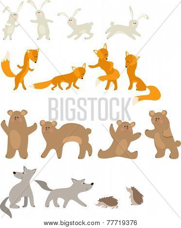 Pretty hare, fox, bear, wolf and hedgehog isolated on white background