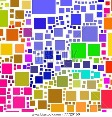 Abstract lots of colorful square shapes on a white background.